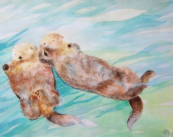 OTTER Watercolor Original Watercolor Painting Wall Art