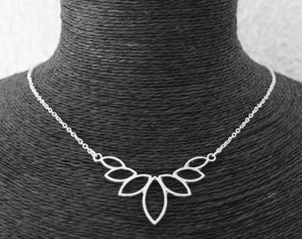 KIT DIY LIPIKI: Lotus flower and fine silver metal chain necklace