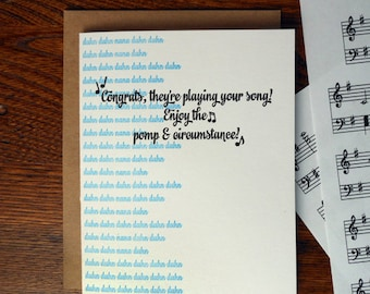 letterpress congrats, they're playing your song! enjoy the pomp & circumstance graduate greeting card pomp and circumstance band graduation