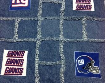 New York Giants Denim Rag Blanket
