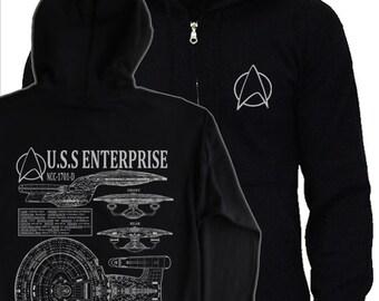 STAR TREK - Next Generation Hoodie - S - 5XL - picards enterprise NCC-1701D blueprints, schematics hoody
