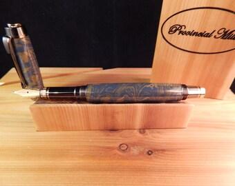 Classic Elite Fountain Pen with Lapis Mokume Metal #ME117