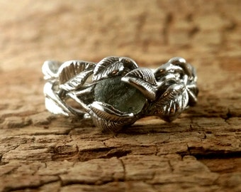 Sterling Silver Green Sapphire Leaf and Twig Wedding Band, Tree Branch Ring, Leaf Ring, Twig Ring, Twig and Leaf Ring, Branch Band by Dawn