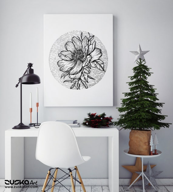 Blooming Flower | Framed Canvas | Cherry Tree | Geometrical Art | Ink Tattoo style | Black and White | Original Artwork | ZuskaArt