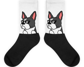 Sunglasses Boston Terrier Socks, Cute Boston Terrier Gift, Funny Boston Terrier Dog Socks
