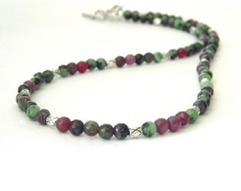 Ruby Zoisite Stone Necklace 4mm Beads 18 Inch Toggle Clasp