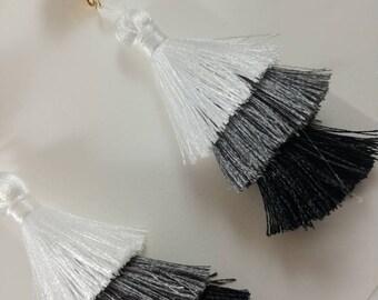 Black Grey and White Ombre Silk Tassel Stud Earrings