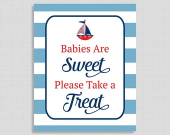 Babies Are Sweet Please Take A Treat Printable Sign, Little Sailor Baby Shower Favor Sign,  Nautical, INSTANT DOWNLOAD