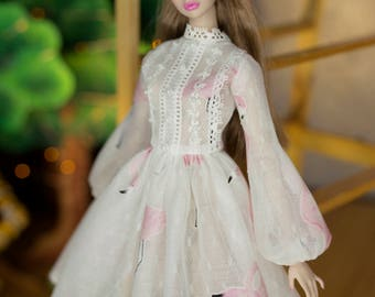 Flamingo dress for fashion royalty , Poppy Parker, Silkstone Barbie, fr2 , 12'' Fashion Doll