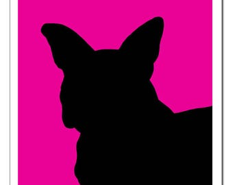 French Bulldog Silhouette-Pop Art Print