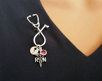 RN Registered Nurse Medical Stethoscope Handstamped Personalized Initial Letter Birthstone Graduation Gift Brooch Pin