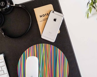 Mouse Pad Color Lines Mousepad Art Mouse Mat Designer Round Mouse Pad Office Decor Mousemat Colorful Mousepad Birthday Gift Idea