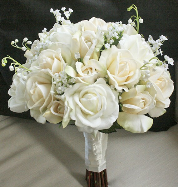 Silk Wedding Bouquet with Champagne and Ivory Roses Natural