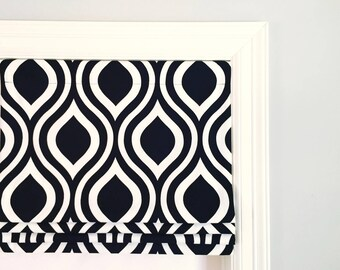 """SALE!!  Faux (fake) roman shade valance.  Lined.  Emily Black and White.  35"""" Wide x 13"""" Long."""