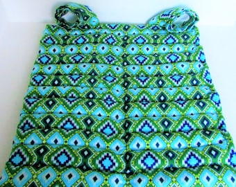 Large Microwave Rice Heating Pad, Large Unscented Green Aztec Cotton Flannel Heat Pad, Fibromyalgia Arthritis Relief, Relaxation/Spa Gift
