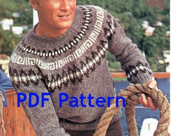 Men's Knit Icelandic Pullover Sweater, Classic Nordic Ski Sweater, Sizes 34-44, Vintage 1960's Pattern, Digital Download, PDF Instant