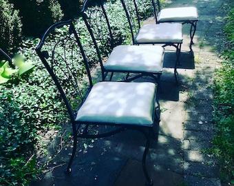 Mid Century Wrought Iron Table and Chairs Woodard Salterini