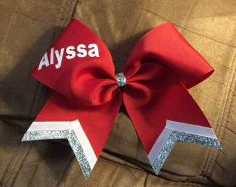"Personalized 3"" Texas Size Cheer bow - single layer - trimed ends -  squad discounts red silver white"