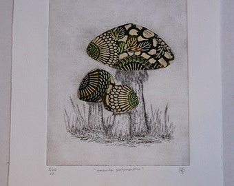 Mushroom Etching with Green Batik Chine Colle