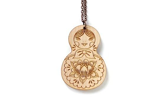 Matryoshka pendant - Russian doll necklace - cute wooden jewelry - illustrated jewelry - kawaii jewellery - lasercut wood - lasercutting