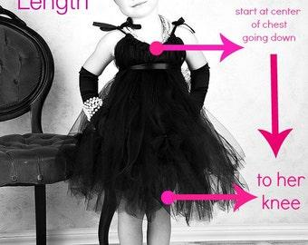 Custom tutu dress size guide for black tutu dress set