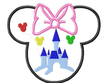 Character Head with Princess Mouse Castle and Balloons Embroidery Applique Design