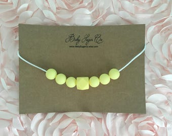 Buttercup Yellow, Silicone Toddler Teething/Chew Bead Necklace