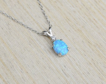 Blue opal necklace etsy more colors blue opal necklace mozeypictures Gallery