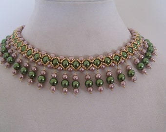 Vintage Olivine and Champagne Pearl Beadwork Necklace Choker Bib with Champagne Olivine Pearl Dangle Drops