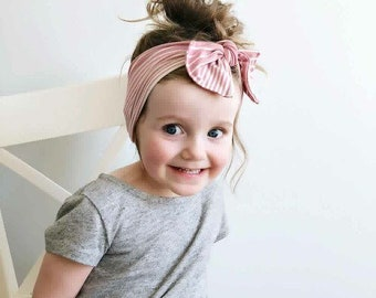 Mauve Striped Baby Headband, Baby Headband, Baby Headwraps, Baby Photo Prop, Top Knotted Headbands