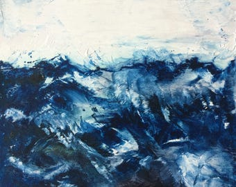 Original Abstract Landscape; Contemporary Oil Painting; Modern Seascape; Blue; White; Ocean; Sky; 40cms x 40cms
