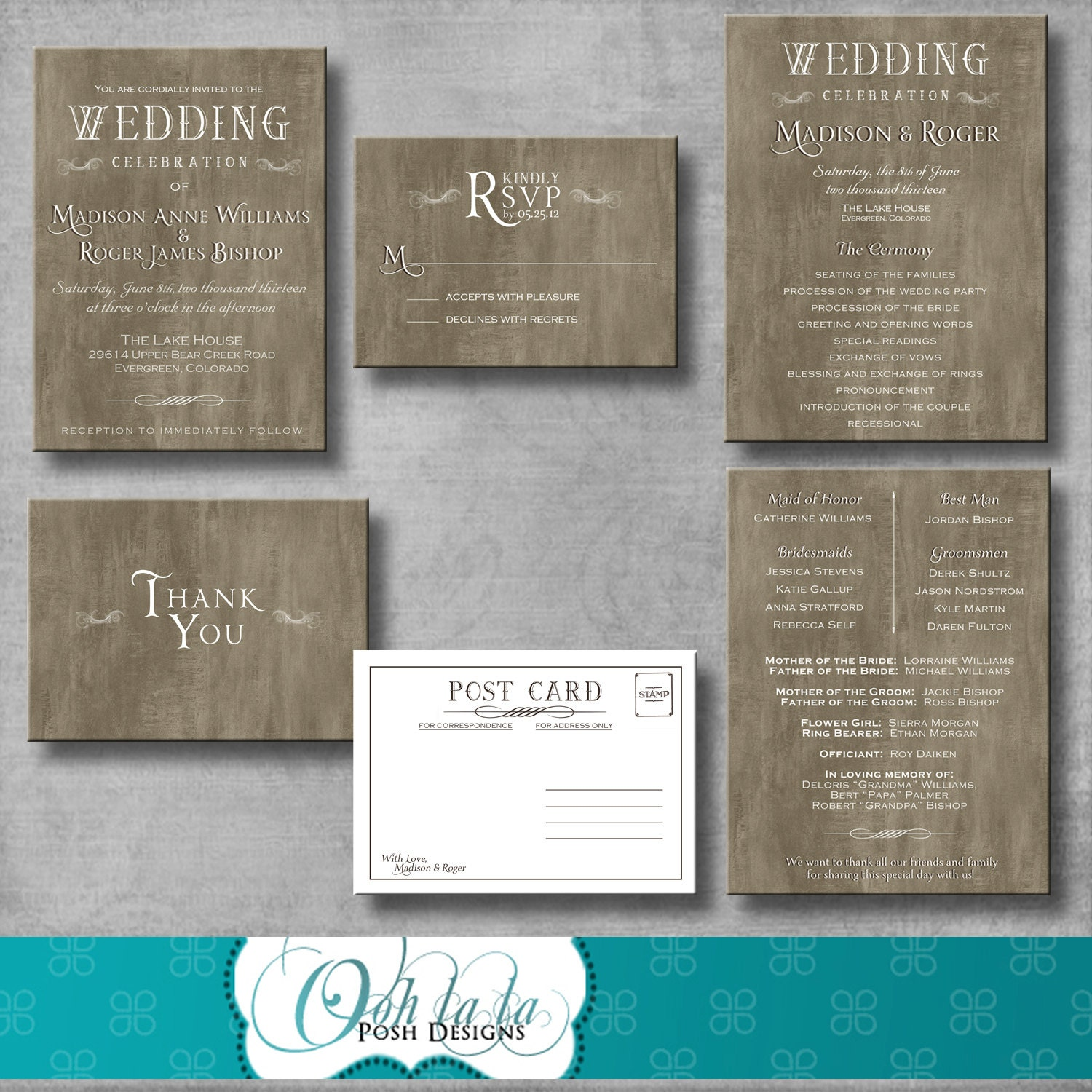 Rustic Elegant Wedding Invitation Response Card Wedding