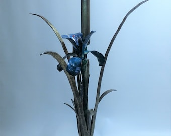 Hand Forged Single Iris with Single Cattail