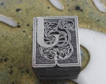 Vintage Letterpress Printers Block Metal Ornamental Burford Initial J