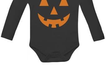 Orange Pumpkin Face Halloween Costume Jack O' Lantern Baby Long Sleeve Bodysuit
