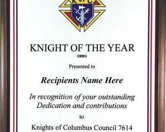 Personalized Knights of Columbus Knight of the Year Plaque - Nice Award!!