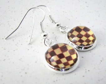 CHESSBOARD Silver Dangle Earrings -- Petite chess boards in a silver frame for chess players and lovers of the Game of Chess