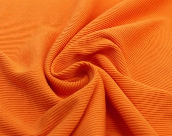 Heavy Bold Orange 1x1 Rib Knit Fabric - 1 Yard Style 6280