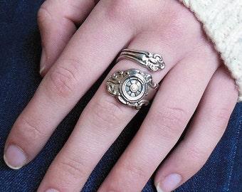 Nautical Spoon Rings, Ships Wheel Spoon Ring, Silverware Jewelry, Beach Thumb Rings