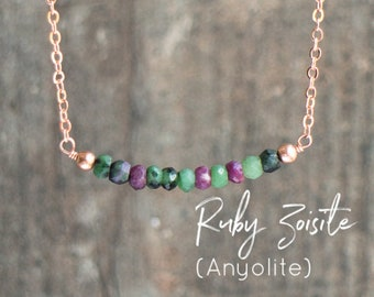 Ruby Zoisite Necklace, Gemstone Necklace, Boho Necklace, Gift for Wife, Anyolite Necklace, Birthday Gifts for Her, Ruby in Zoisite Jewelry