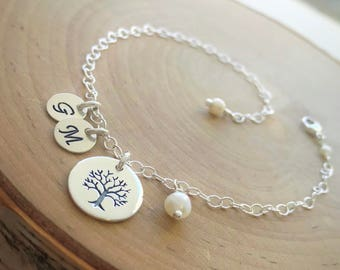 Personalized Mother's Family Tree Bracelet, Custom jewelry, Mother's Day Gift, Bridal Wedding, New Mom, Sterling Silver Adjustable Chain