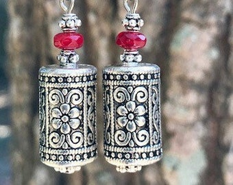 Red Earrings, Bohemian Earrings, Silver Earrings, Rustic Earrings, Boho Jewelry, Gift for Her, Flower Earrings, Boho Earrings