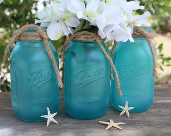 Beach centerpiece etsy set of 3 sea glass mason jars beach bridal shower decorations coastal wedding decor mason jar junglespirit Image collections