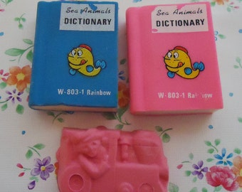 Three 80s Cute Erasers.Dictionary and Train