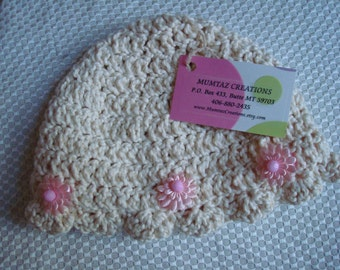 Cotton Baby Girls Bonnet Hat with Pink Flowers - 291