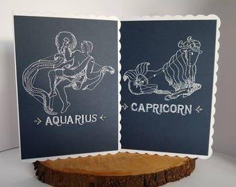 Embroidered Zodiac Sign Card Aquarius Pisces Aries Taurus Gemini Cancer Leo Virgo Libra Scorpio Sagittarius Capricorn Birthday Cards Her Him
