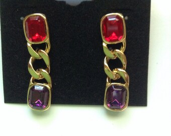 Vintage Pierced red and purple dangle earrings
