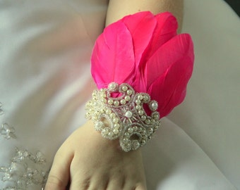 Ombre hot pink corsage, wrist corsage, feather corsage, prom corsage, corsages for prom, hand corsage, arm corsage, corsage and boutonniere