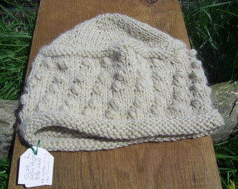 Hand knitted Hat in 50/50% wool and alpaca yarn