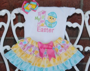 Baby Girl My 1st Easter Outfit! Easter chick outfit for baby girls with applique bodysuit, ruffle skirt, and hair bow!